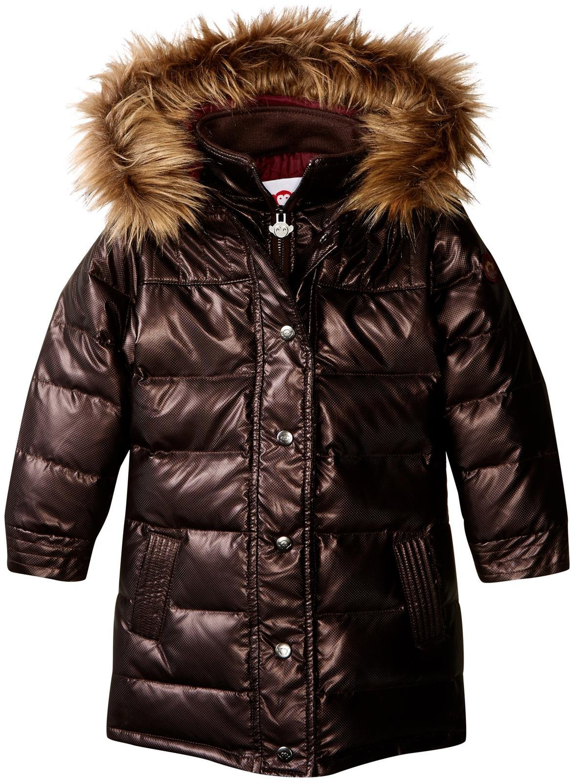 Appaman Girls' Long Down Coat, Black Copper, 3T