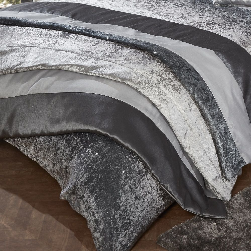 Tony's Textiles Luxury Glitter Crushed Velvet Bedspread Throw Mink Natural (Standard) Tony's Textiles