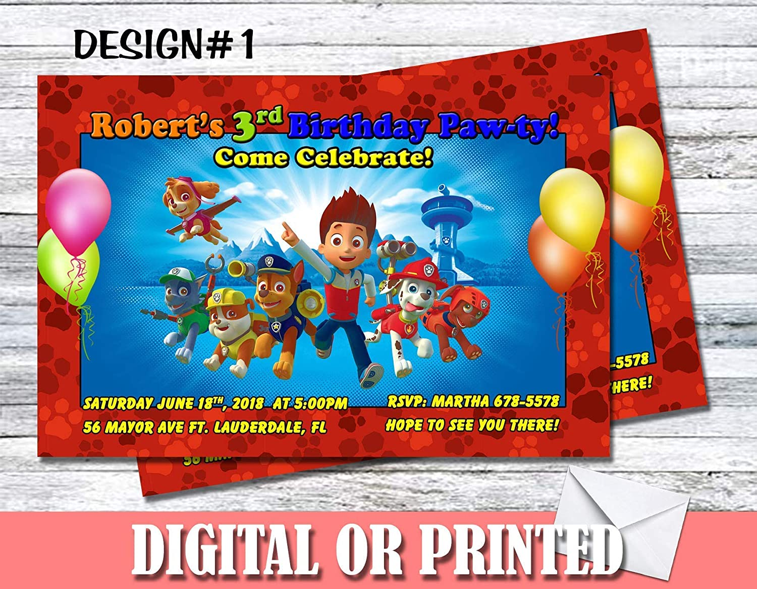Amazon Paw Patrol Personalized Birthday Invitations More
