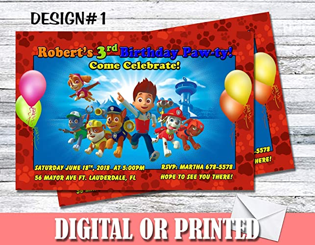 Image Unavailable Not Available For Color Paw Patrol Personalized Birthday Invitations