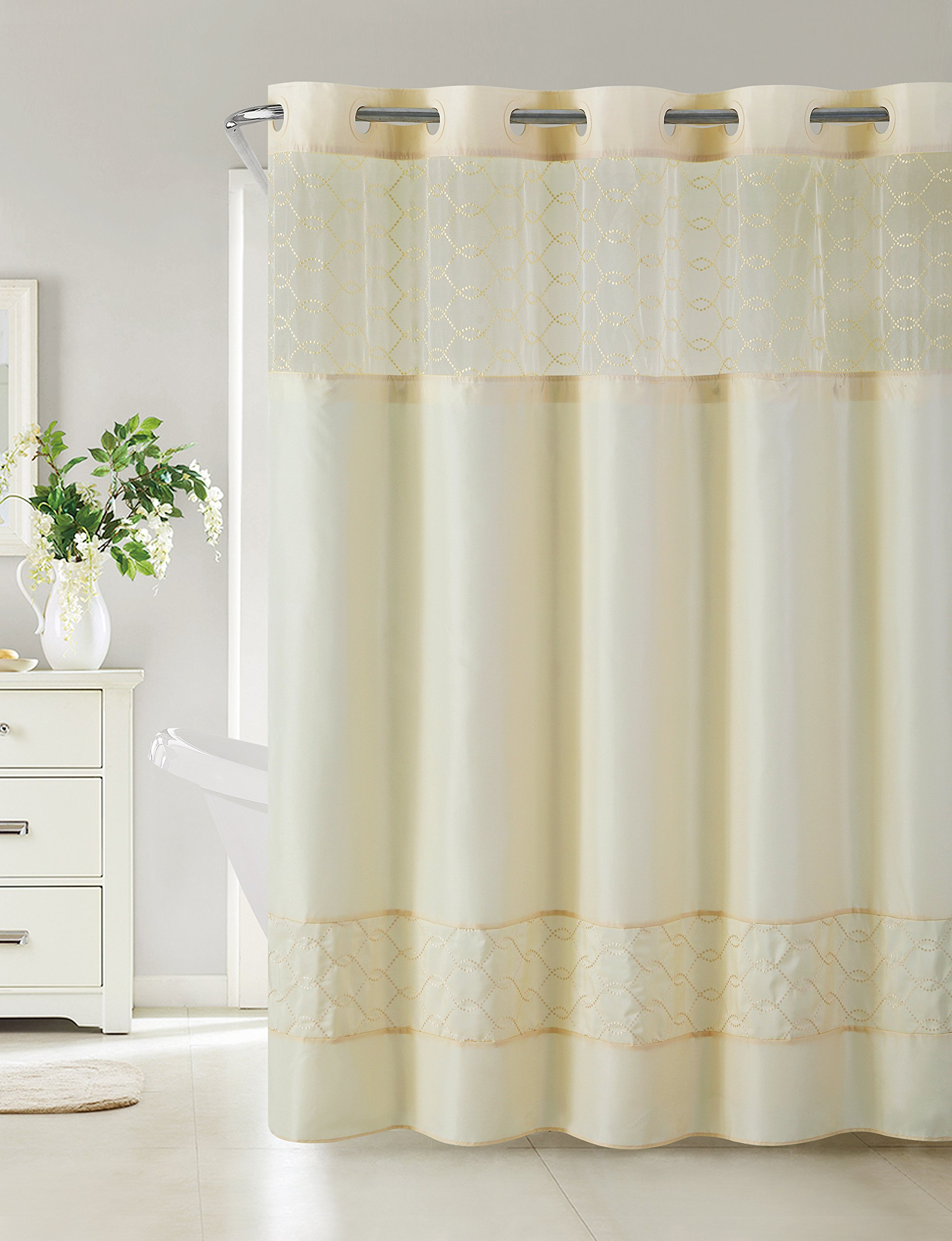 Hookless RBH40MY097 Downtown Soho Shower Curtain with Peva Liner -  Vanilla