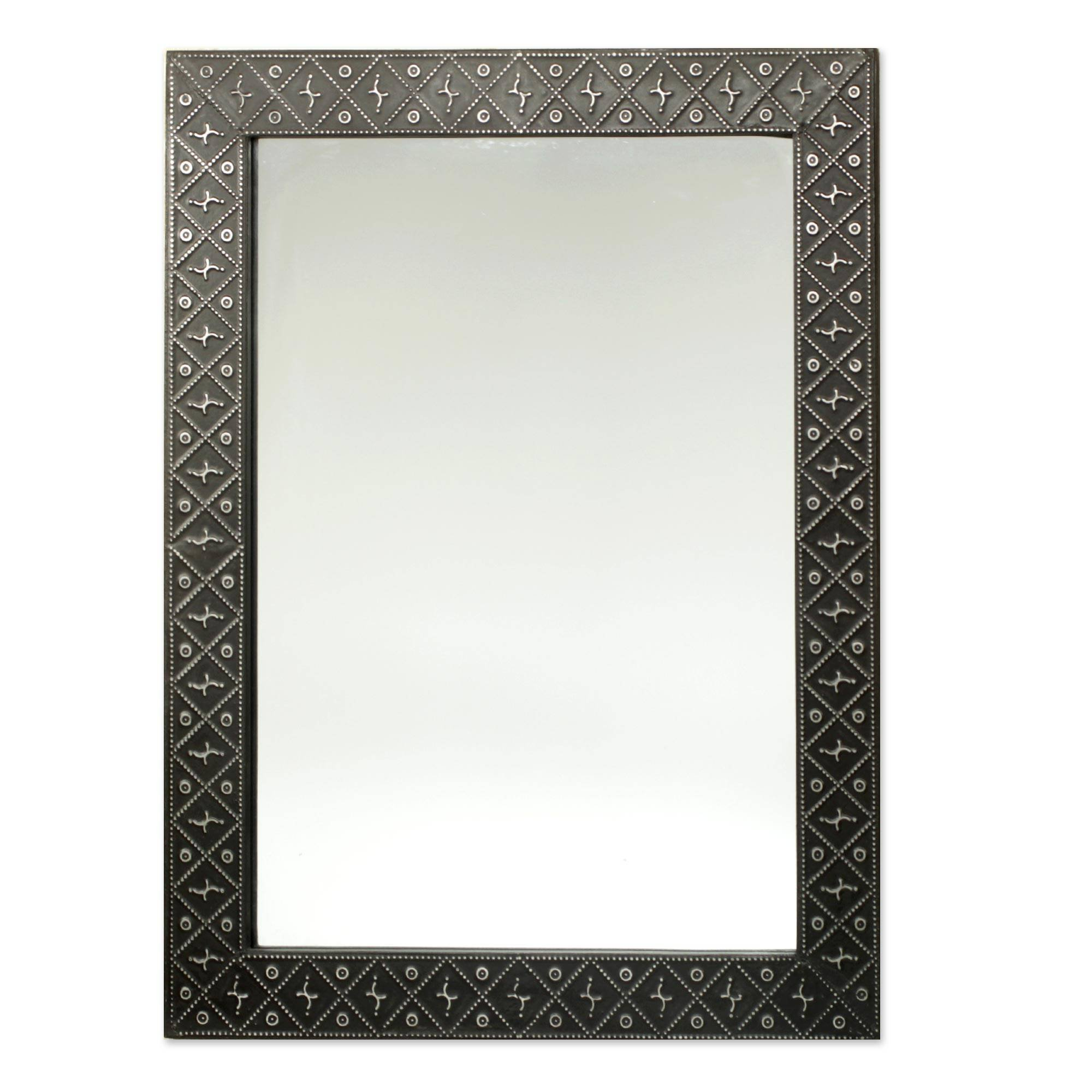 NOVICA Contemporary Wood Wall Mounted Mirror, Black 'African Prince'