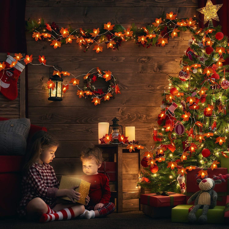 Decoraciones de Fiesta bater/ía no incluida Gxhong Luces de Cuerda de Hoja de Arce,9.84 pies // 20 LED Luz de Cuerda de Guirnalda de oto/ño Navidad luz de Cuerda con bater/ía para acci/ón de Gracias