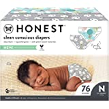 The Honest Company, Club Box, Clean Conscious Diapers, Above It All + Pandas, Size Newborn, 76 Count (Packaging + Print May V