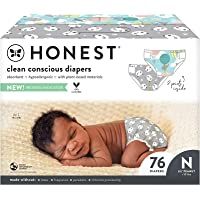The Honest Company, Club Box, Clean Conscious Diapers, Above It All + Pandas, Size Newborn, 76 Count (Packaging + Print…