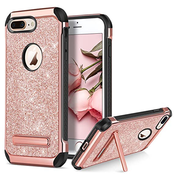hot sale online d6b8d 41b46 BENTOBEN Case for Apple iPhone 8 Plus Protective Kickstand Phone Cases  Glitter Bling Sparkle Girly Cases 2 in 1 Heavy Duty Hard PC Soft TPU  Shockproof ...