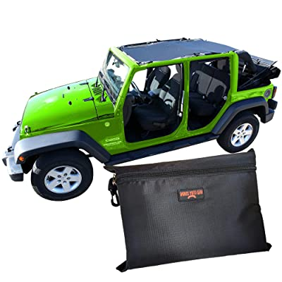 BADASS MOTO Jeep Wrangler JKU 4Dr Mesh Sun Shade Top Cover. Easy Install. Sunshade Keeps Passengers Cool For Extra Comfort, UV + Wind & Noise Protection. Great Looking Accessories for your Jeep.: Automotive