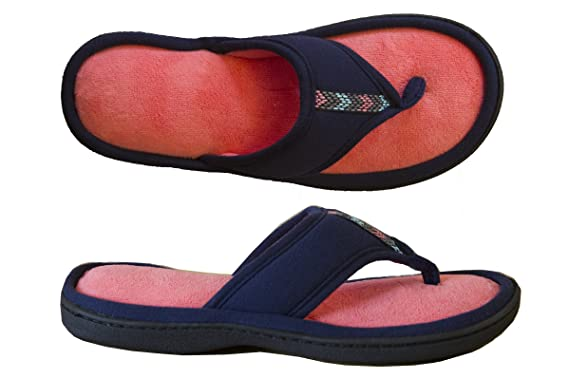 9890f2aa26f Isotoner Women s Microterry Jersey Luna Thong Slipper Navy Blue 9.5-10