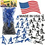 TimMee Plastic Army Men 'Black vs. Blue': 96pc 2in Soldier Figures - Made in USA