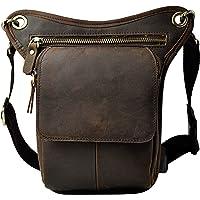 Le'aokuu Mens Genuine Leather Multi-Purpose Racing Drop Leg Bag Motorcycle Outdoor Bike Cycling Waist Bag