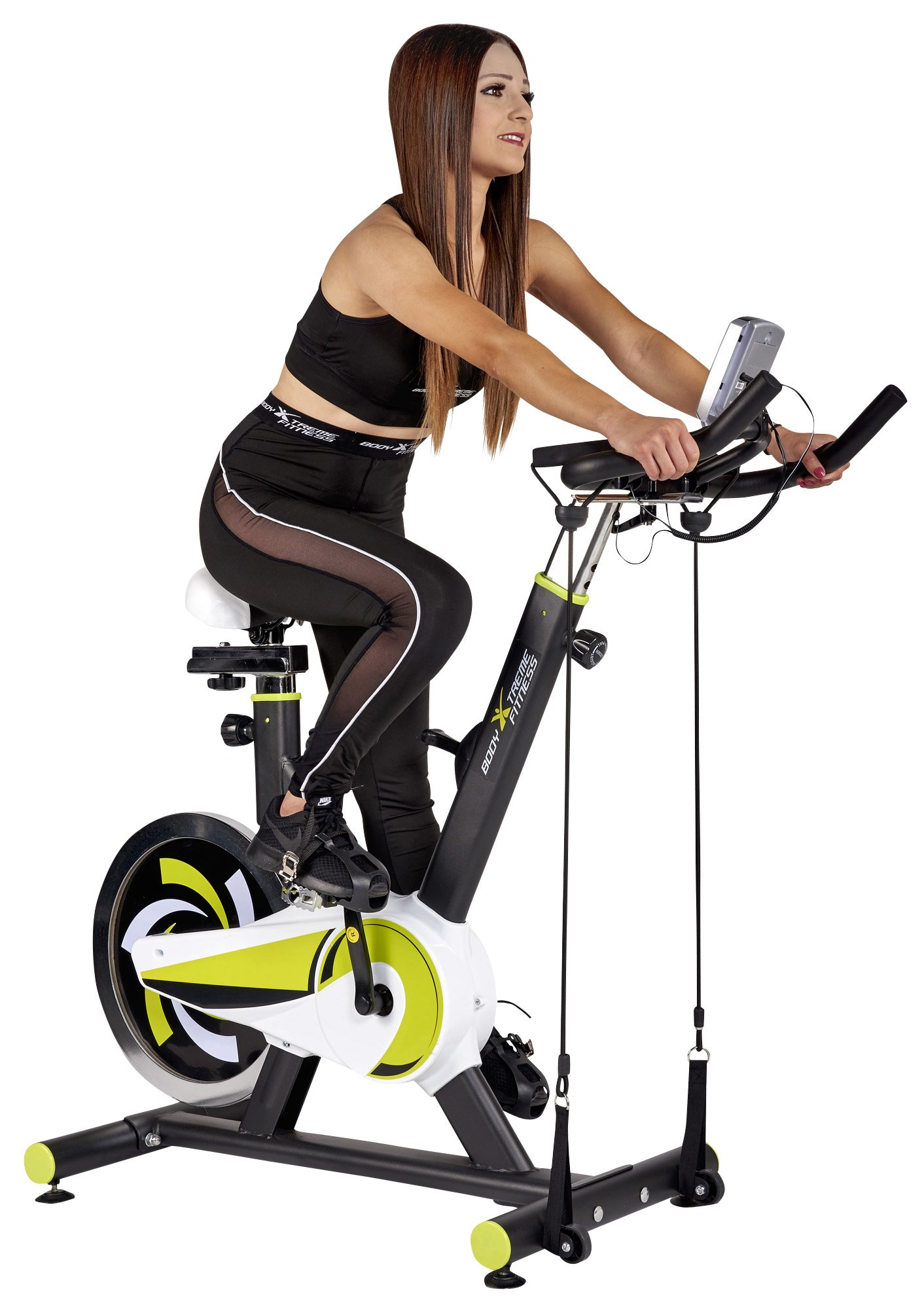 Body Xtreme Fitness Lime Green/Black Exercise Bike, Home Gym Equipment, 40lb Flywheel, Resistance Bands, Water Bottle + BONUS COOLING TOWEL by Body Xtreme Fitness USA (Image #2)