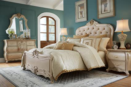 king tufted w fabric suite set bed aico lavelle bedroom wing inserts melange shop mansion leather