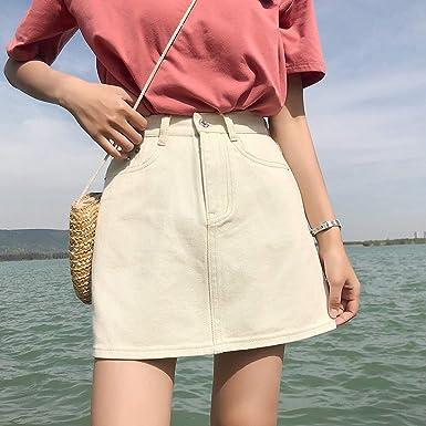 DER - Falda de Jean para Mujer (versión Coreana de Cintura Alta ...