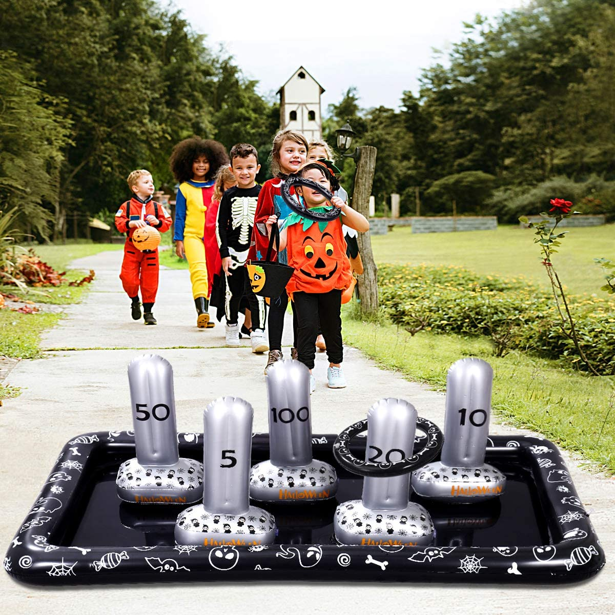 Halloween Ring Toss Set 5 Inflatable Tombstones Halloween Party Favor Supplies Funny Game Educational Toy for Kids