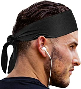 Head Tie Sports Headband: Sweatband for Men & Women & Kids Headbands. Best Cooling Ninja Head Band Bandana Hair Wrap Sweat Bands for Running Gym Workout Exercise & Tennis Basketball Football etc Black