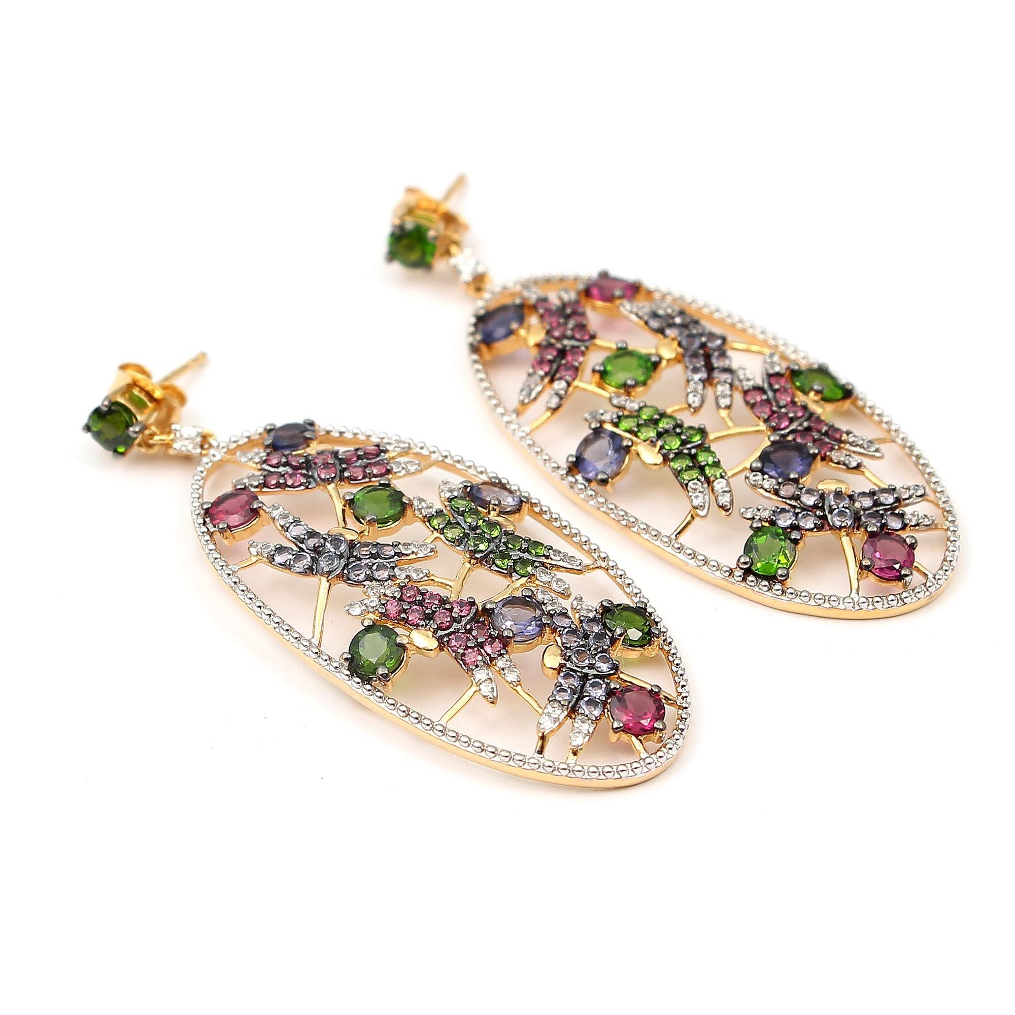 Neerupam collection 925 sterling silver natural gemstone studded dangles earrings for women and girls
