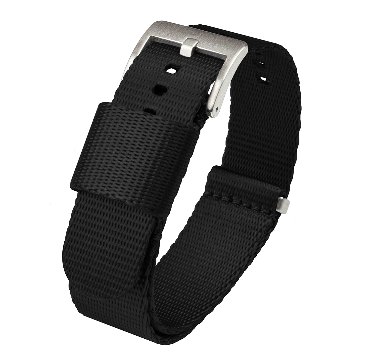 BARTON Watch Bands - Jetson NATO Style Watch Strap - Seatbelt Nylon Weave - Stainless Steel Buckle - Choice of Color & Width 18mm, 20mm, 22mm or 24mm - Seat Belt Nylon Watch Bands