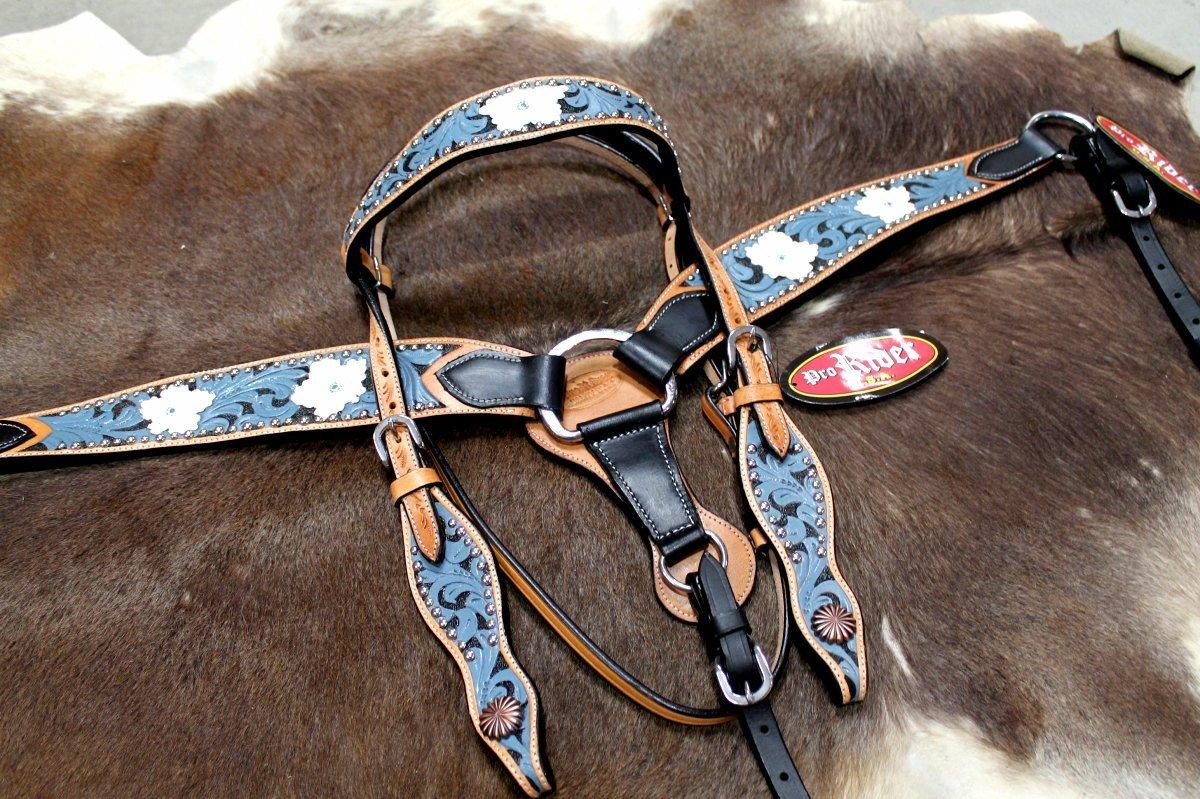 馬タックBridle WesternレザーHeadstall Breast襟ターコイズフローラル80176