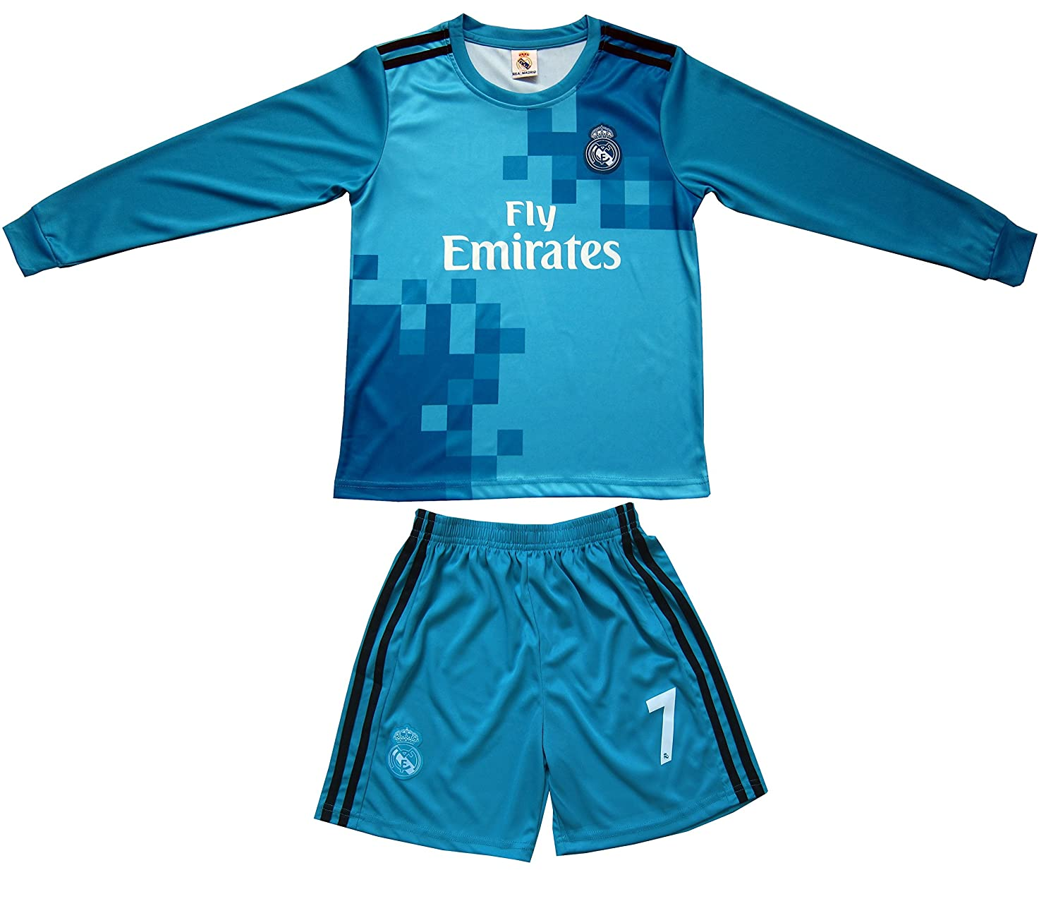 the latest 6ce1e cb4f9 GamesDur 2017/2018 Real Madrid RONALDO #7 Away BLUE Long Sleeve Soccer Kids  Jersey & Short Set Youth Sizes