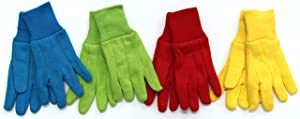 Childrens Gardening Work Play Jersey Gloves for Boys and Girls. 4- Pack of BRIGHT Colors Made with Cotton Blend and Machine Washable. Approximate Age 5+