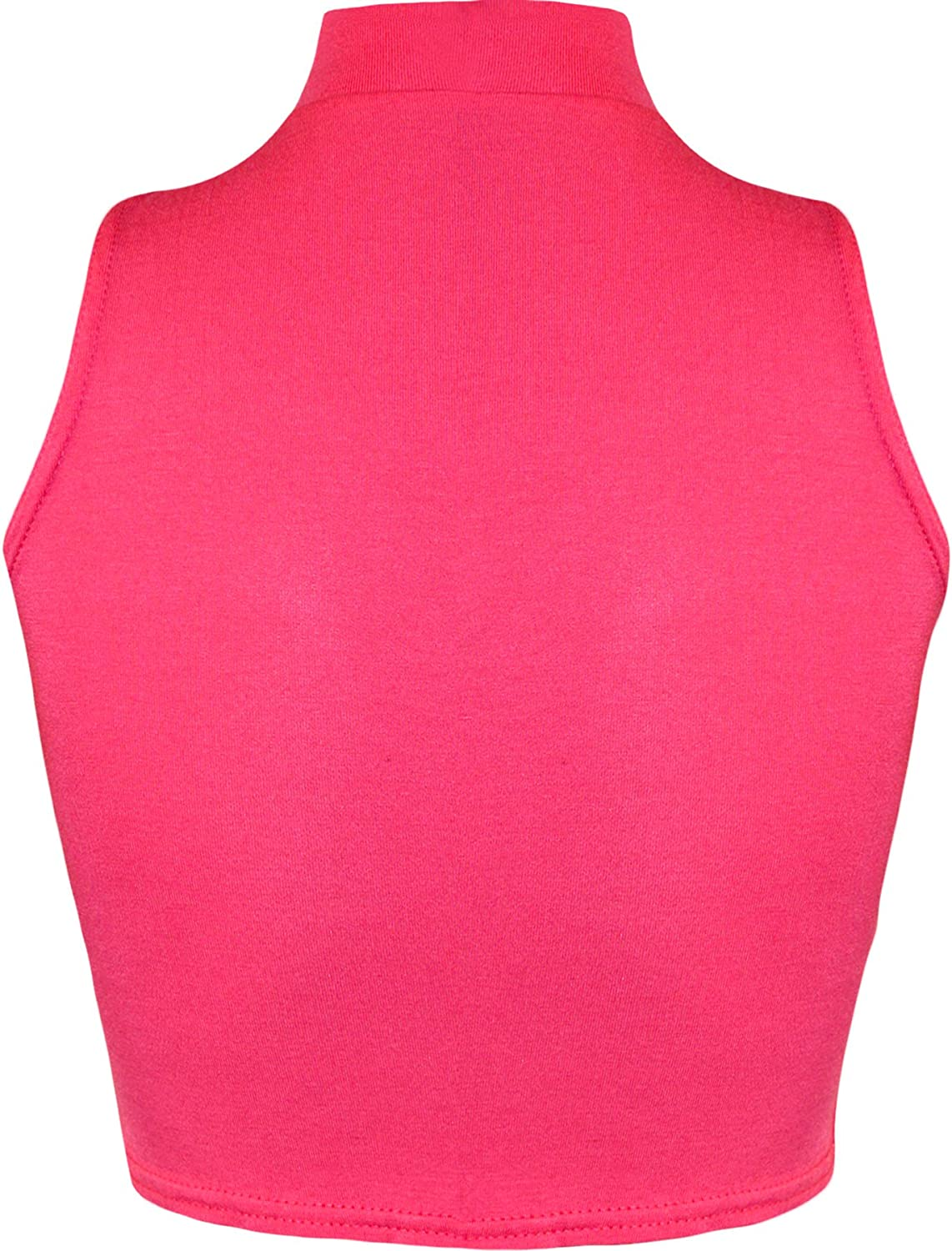 WearAll Womens Turtle Neck Crop Ladies Short Plain Sleeveless Polo Look Vest Top Sizes 8-14