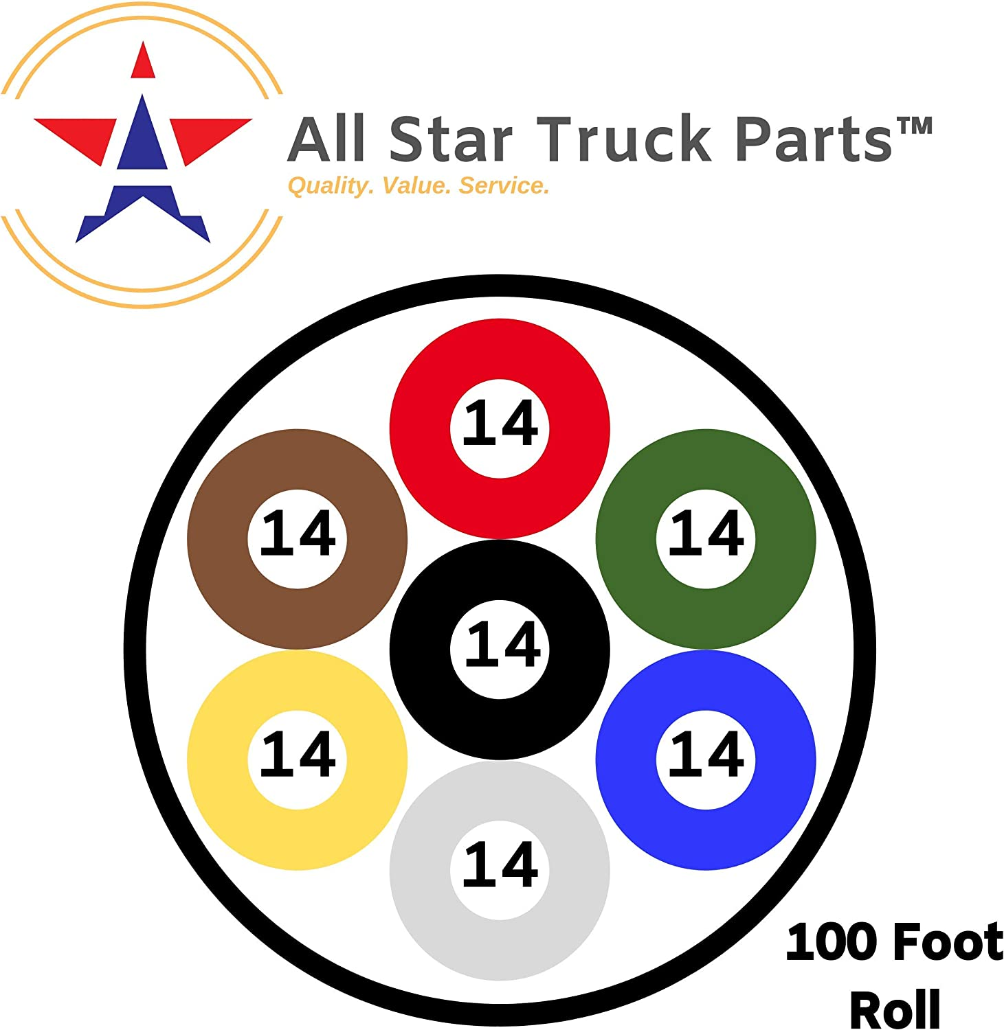 50 FT ROLL ALL STAR TRUCK PARTS Heavy Duty 14 Gauge 7 Way Conductor Wire RV Trailer Cable Cord Insulated Copper