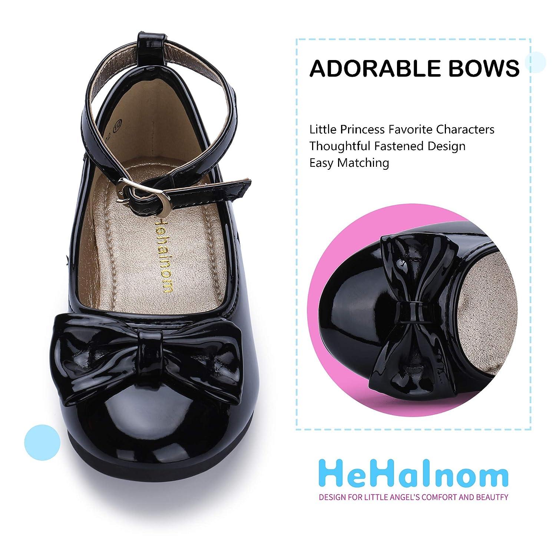Hehainom Toddler//Little Kid Girls Ballet Flats Ankle Strap Dress Shoes
