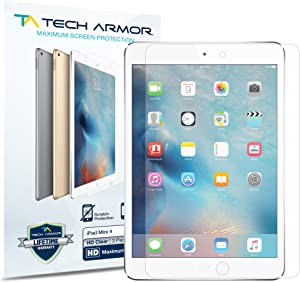Tech Armor High Definition HD Clear Film Screen Protector Designed for Apple iPad Mini 5 (2019), iPad Mini 4 [NOT Glass] - Full Coverage, Ultra-Thin, Scratch Resistance - [2-Pack]
