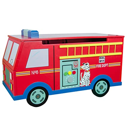 Teamson Kids   Trains U0026 Trucks Fire Engine Kids Wooden Toy Chest With  Safety Hinges