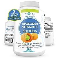 Core Med Liposomal Vitamin C Softgels 1000mg/dose - Quali®-C Vitamin C (Scotland) - USA Made - Immunity Support, Collagen Booster Supplement - Non-GMO Non-Soy … (3 Month)