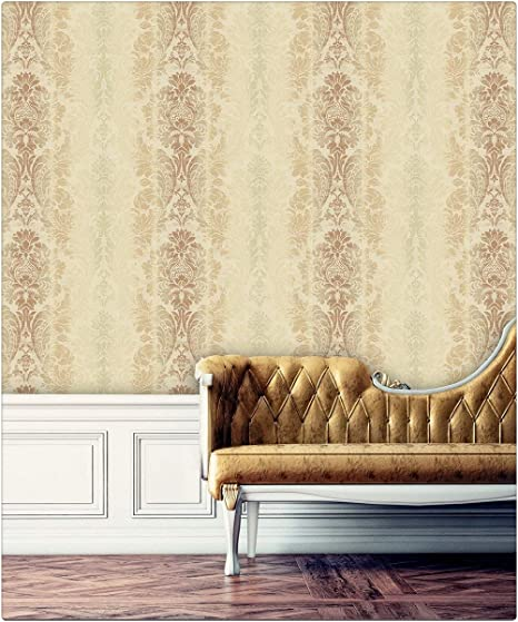 Haokhome 79904 Gradient Color French Damask Wallpaper Brown Lt
