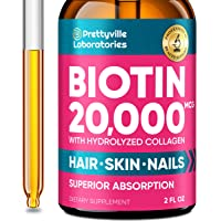 Biotin & Collagen Peptides - Liquid Biotin Supplement with Hydrolyzed Collagen - Made in The USA - Pure Biotin Vitamins for Hair & Nail Growth - Natural Collagen & Biotin Drops for Glowing Skin