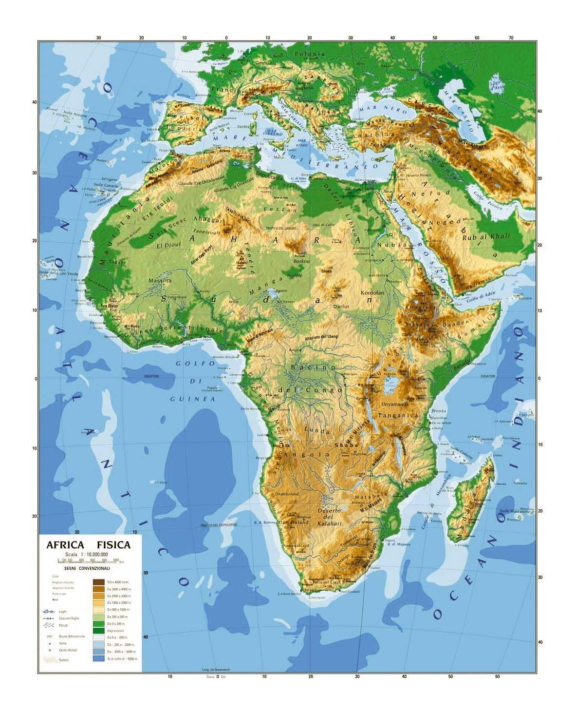 Cartina Fisica Dell Africa Settentrionale.Carta Geografica Cm 100x140 Africa Amazon It Giochi E Giocattoli
