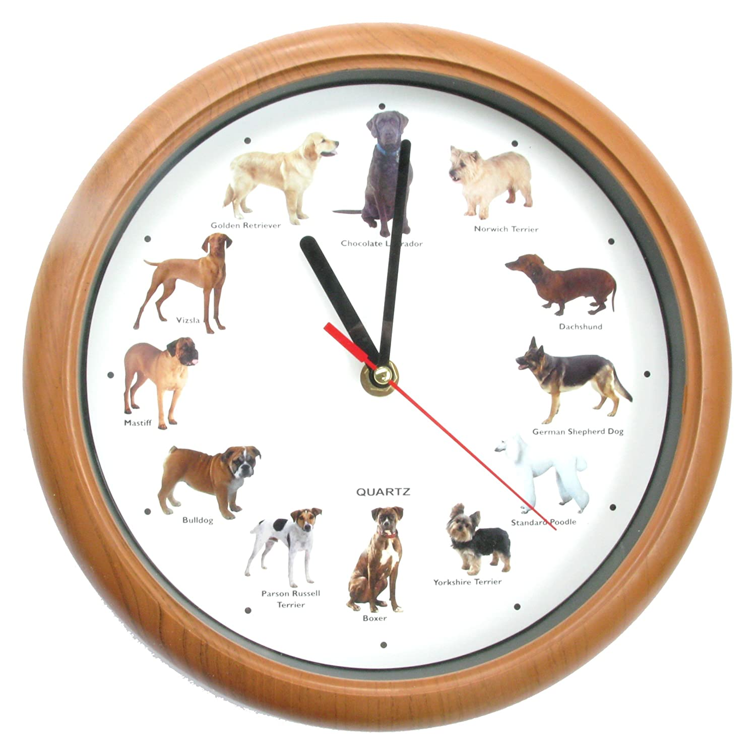 Dog Wall Clock - Quartz Barking Dog Wall Clock - Optional Barking Chime! - Labrador Poodle Terrier Boxer Bulldog Golden Retreiver by The Friendly Trading Co