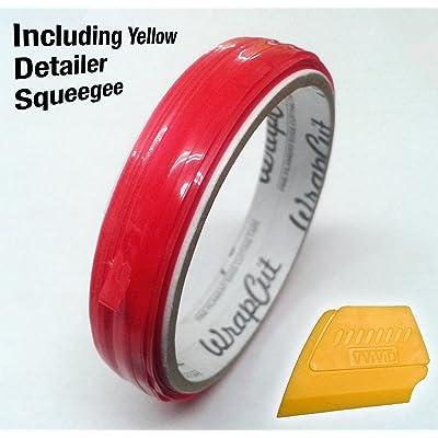 VViViD Wrap Cut 32ft (10M) Vinyl Wrap Edge Cutting Detailer Tape (2 Rolls + Squeegee): Automotive