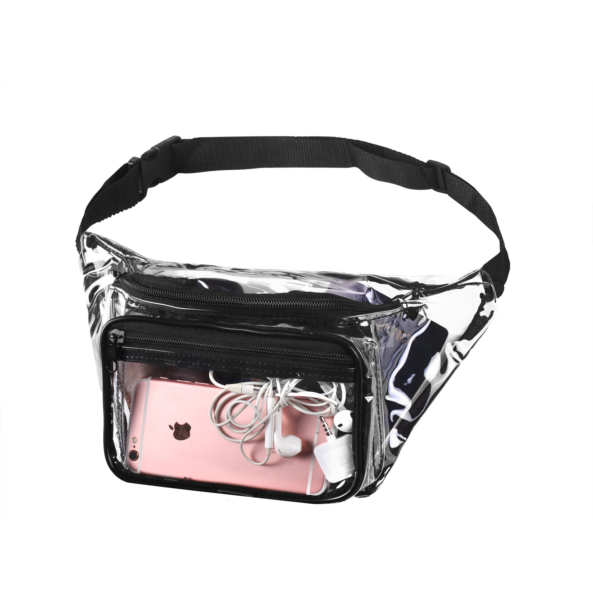 Transparent Waist Fanny Pack Clear Purse Security Stadium Pockets Adjustable Strap