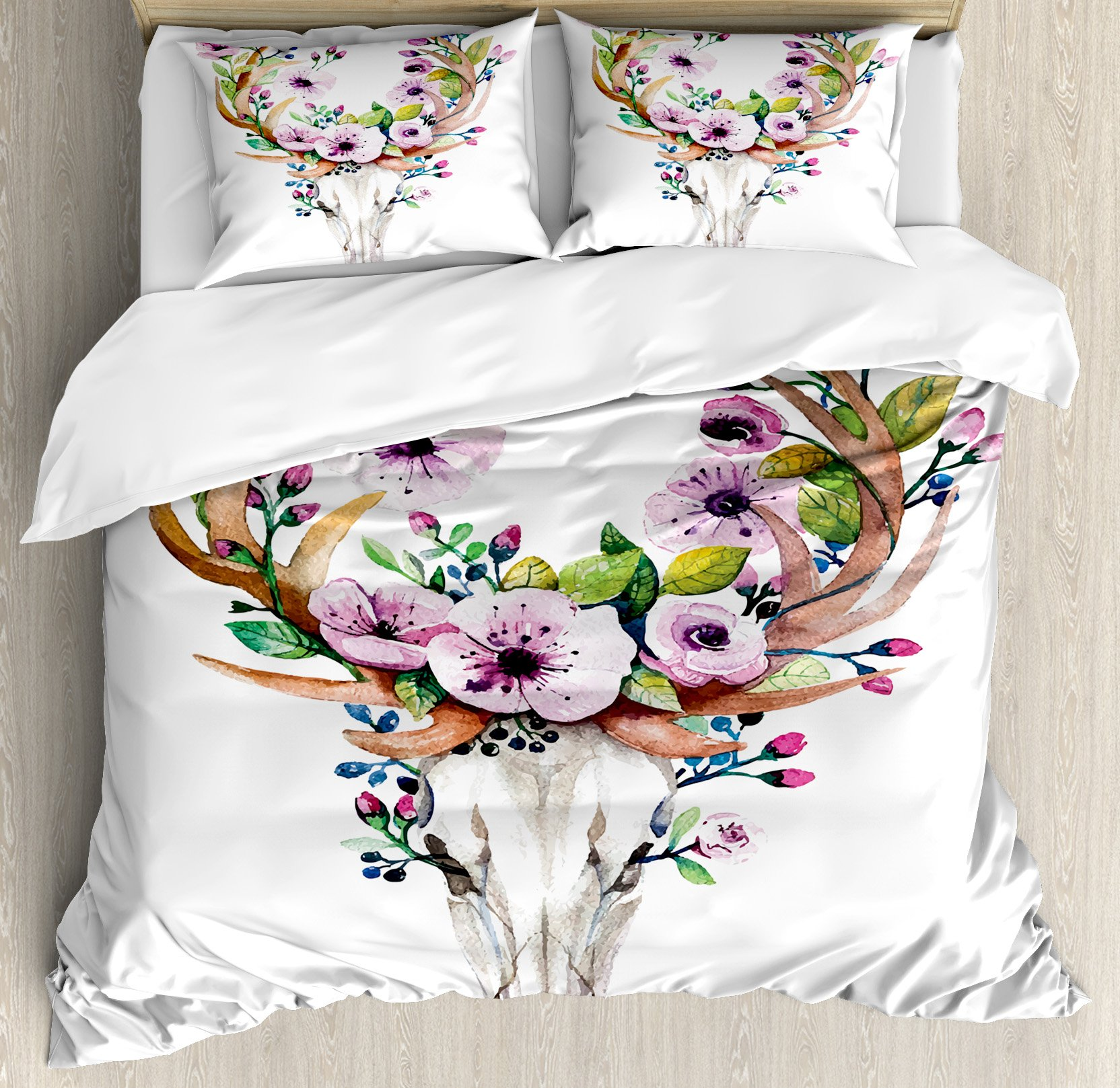Ambesonne Skull Duvet Cover Set Queen Size, Deer Animal Skull with Floral Horns Nature Inspired Dead and Living Art Print, Decorative 3 Piece Bedding Set with 2 Pillow Shams, Cream Pink Brown