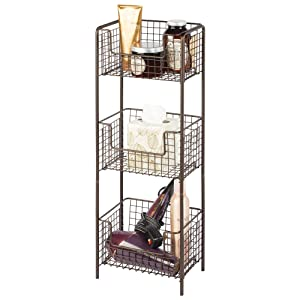 mDesign 3 Tier Vertical Standing Bathroom Shelving Unit, Decorative Metal Storage Organizer Tower Rack with 3 Basket Bins to Hold and Organize Bath Towels, Hand Soap, Toiletries - Bronze