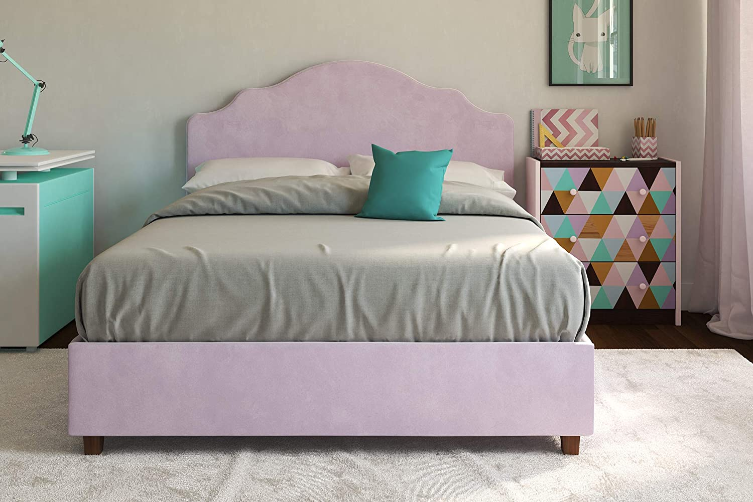 DHP Savannah Upholstered Platform Bed, Lilac, Full