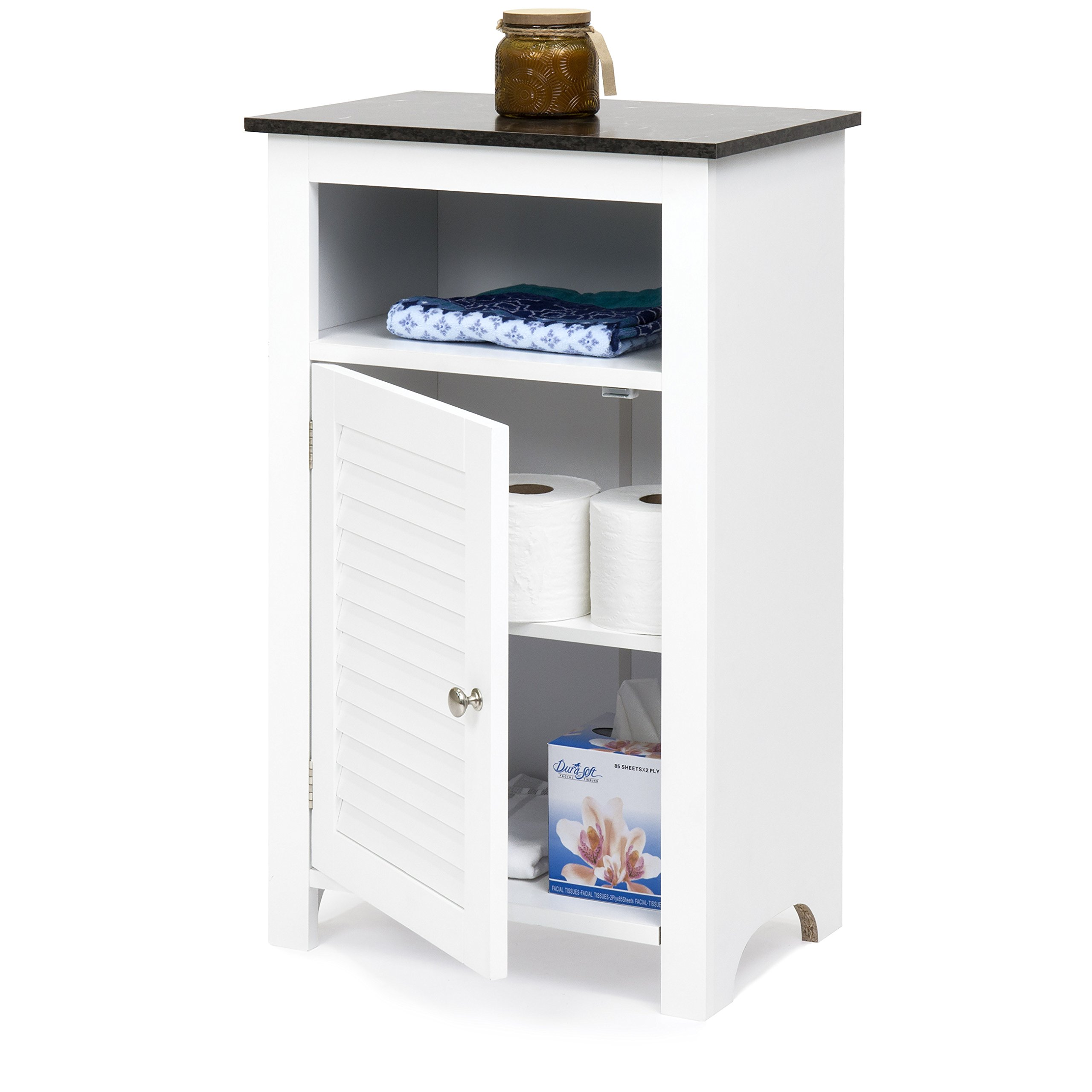 Best Choice Products Bathroom Floor Storage Cabinet w/Faux Black Granite Top (White)