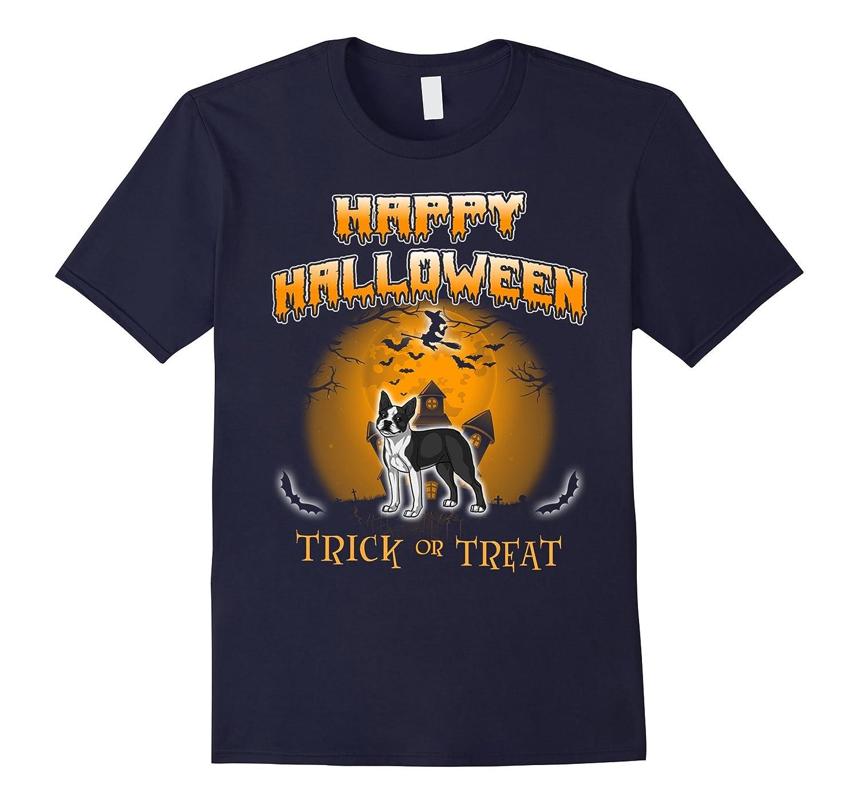Boston Terrier Dog Happy Halloween T-Shirt-TJ