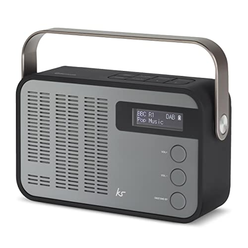 KitSound Classic DAB+/FM Wireless Portable Radio with Bluetooth and Alarm Function, Black/Grey