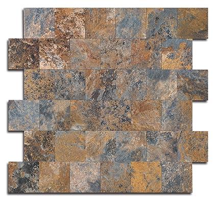 Peel And Stick Tile Backsplash, PVC Rusty Slate Tile Backsplash For Kitchen
