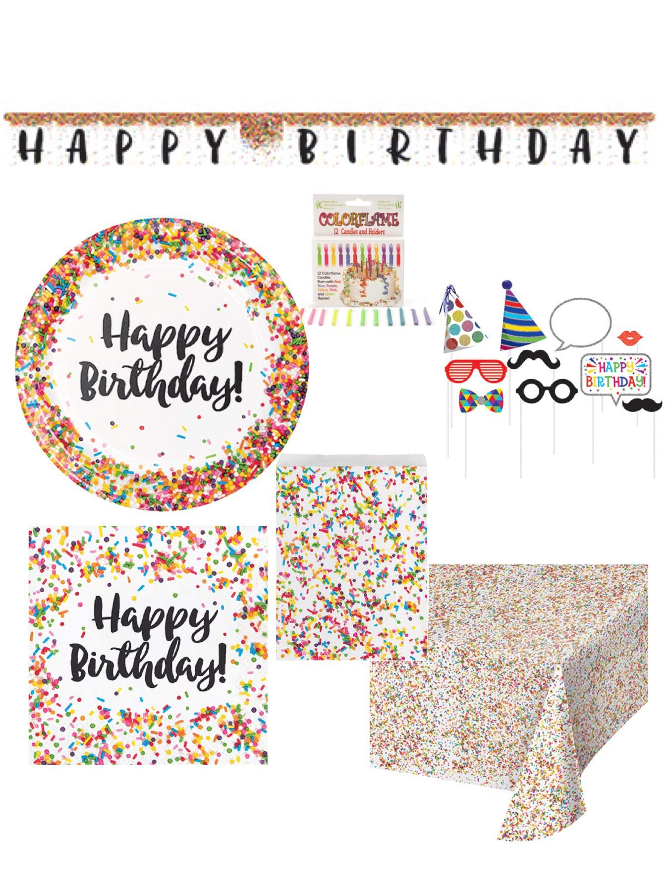 Olive Occasions Confetti Sprinkles Happy Birthday Disposable Paper Party Supplies Serves 16 Dinner Plates, 16 Napkins, Banner, Table Cover, Loot Bags, Photo Props, Candles, Grandma Olive's Re by Olive Occasions