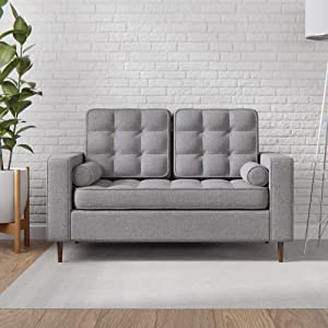 Edenbrook Lynnwood Upholstered Loveseat with Square Arms and Tufting-Bolster Throw Pillows Included, Light Grey