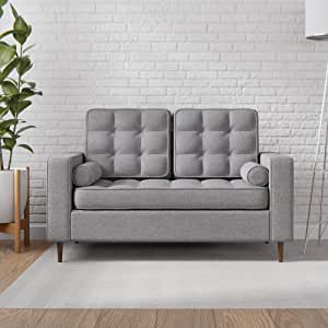 Everlane Home Lynnwood Upholstered Loveseat with Square Arms and Tufting-Bolster Throw Pillows Included Charcoal