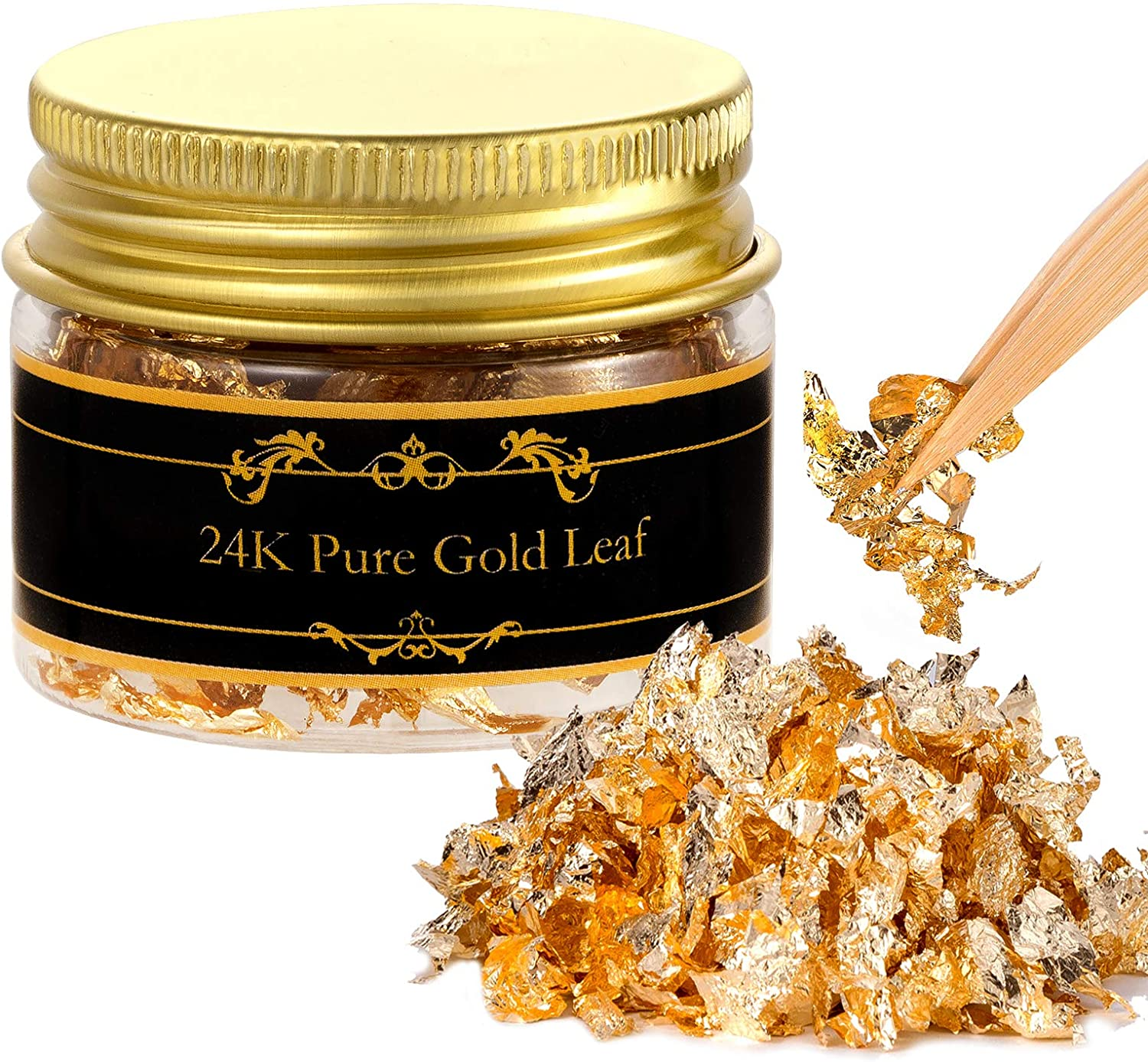 Edible Genuine Gold Leaf Flakes with Tweezers - 30mg 24K Gold Leaf Decorative Dishes, Genuine Gold Flakes for Cakes, Cooking & Beauty Decorative