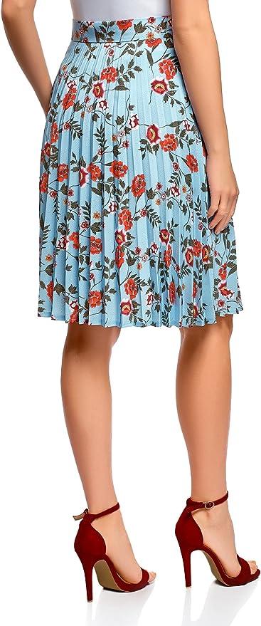oodji Collection Mujer Falda Plisada por la Rodilla, Azul, ES 46 ...