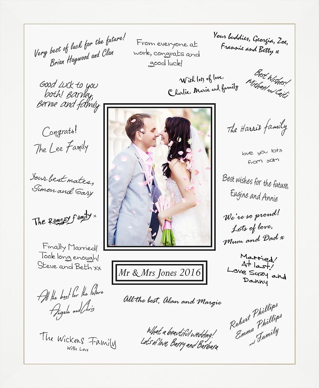Groß 50 x 40 cm Hochzeit Gast Unterzeichnung Board weiß Rahmen, holz ...
