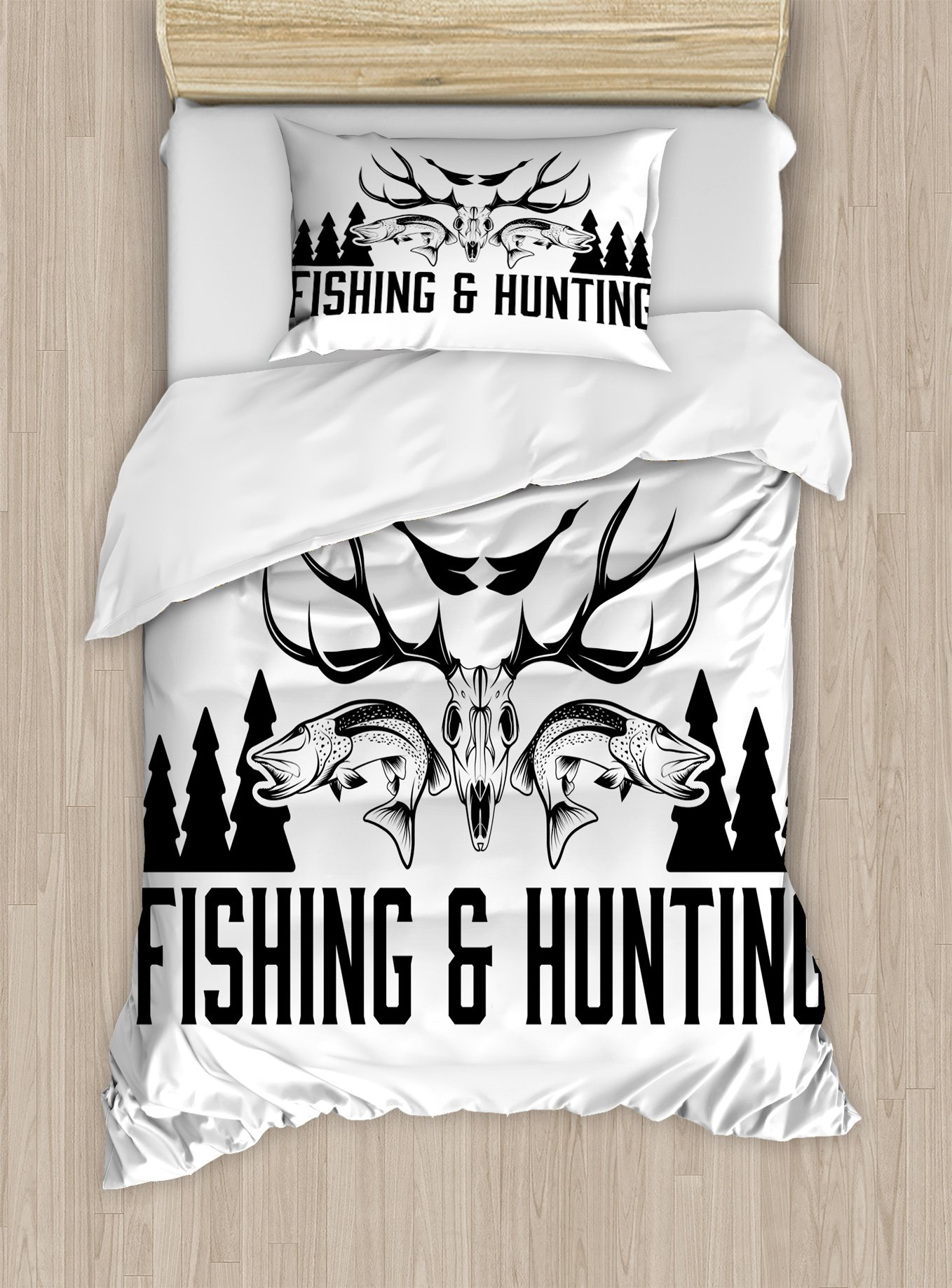 Ambesonne Hunting Duvet Cover Set Twin Size, Hunting and Fishing in Vintage Emblem Design Antler Horns Mallard Pine Tree, Decorative 2 Piece Bedding Set with 1 Pillow Sham, Black and White